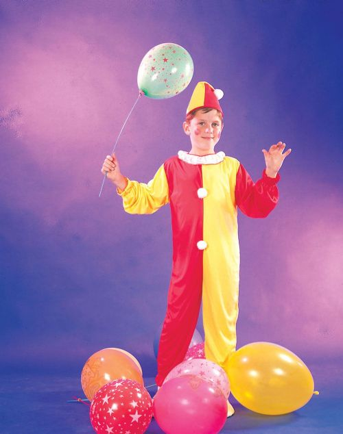 Childs Clown Costume Circus FunFair Parade Fancy Dress Outfit